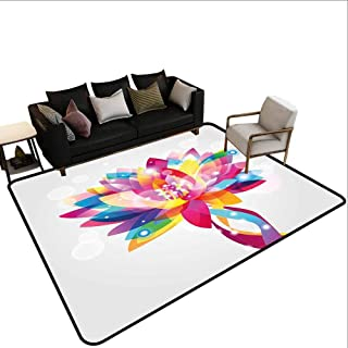 Lotus, Kids Carpet Playmat Rug, Rainbow Colored Lotus Petals in Vibrant Hippie Color Tones Mystic Purity Illustration, Area Rug for Kids Room 6.6x9 Feet Multicolor