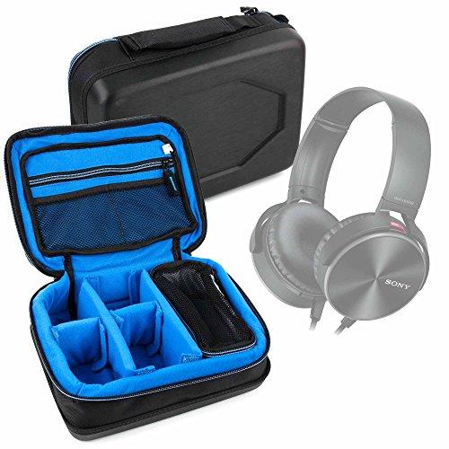 DURAGADGET Bolsa Acolchada Profesional Negra con Compartimentos para Auriculares Pyle PHPNC45, PHPW5, Sound 6 PHBT6 / Sades SA 903 / Sony MDR-XB450 / Superlux HD681 / Urbanista Seattle Wireless