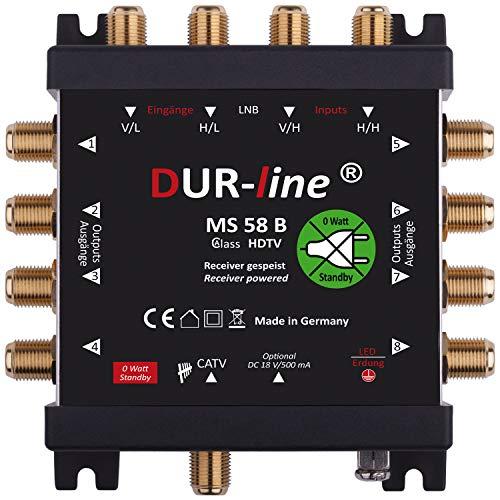 DUR-line MS 5/8 B eco Stromloser Multischalter für 8 Teilnehmer [ Test SEHR GUT *] - Geringe Stromaufnahme - 0 Watt Standby Multiswitch [Digital, HDTV, FullHD, 4K, UHD]
