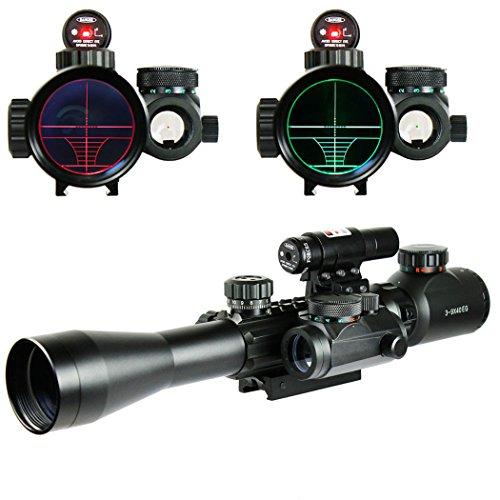 IRON JIA'S Visori Caccia Softair 3-9X40EG Illuminato Rosso/Verde DOT Mirino Vista con Laser Arma olografica Vista Combo