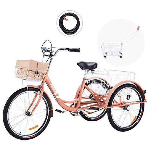 Viribus 26 Inch Single Speed Adult Tricycle | 3 Wheel Cruiser Bike with Removable Wheeled Basket, Dustproof Bag, Lights & Bell for Cycling Shopping Picnic | Hybrid Beach Trike for Men & Women, Pink