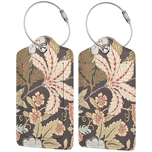 Vintage Flower Personalized Leather Luxury Suitcase Tag Set Travel Accessories Luggage Tags