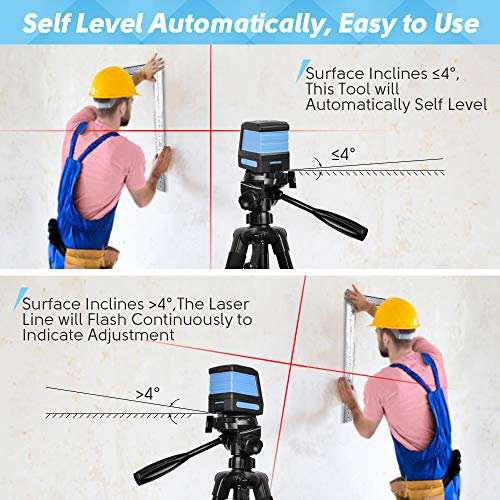 Self Leveling Laser Level - 50ft Cross Line Laser level Laser Line leveler Beam Tool for Construction Picture Hanging Wall Writing Painting Home Renovation Floor Tile with Horizontal and Vertical Line
