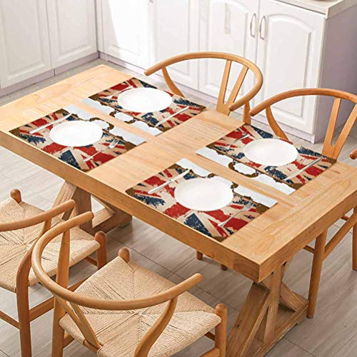 FloraGrantnan Washable Placemat Rectangular Placemat, Union Jack Vintage Travel Suitcase with British, Placemats Washable Easy to Clean, Set of 8