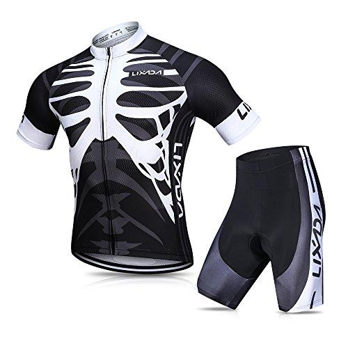 Lixada Herren Radtrikot Set, Atmungsaktiv Quick-Dry Kurzarm Radsport-Shirt + Gel Gepolsterte Shorts, (Schwarz&Weiß, M)