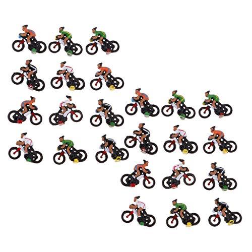 IPOTCH 24pcs / Pack Miniatura 1:87 Ciclista Jinete Modelo Paisaje HO Accesorio...