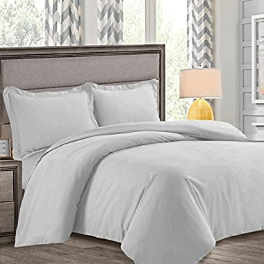 Nestl Bedding Duvet Cover, Protects and Covers your Comforter/Duvet Insert, Luxury 100% Super Soft Microfiber, Queen Size, Color Silver Light Gray, 3 Piece Duvet Cover Set Includes 2 Pillow Shams