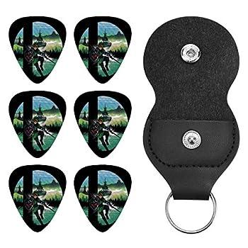 Super Smash Bros Link Legend Of Zelda Personalized custom guitar picks 6 pieces 0.71mm leather storage bag type guitar picks