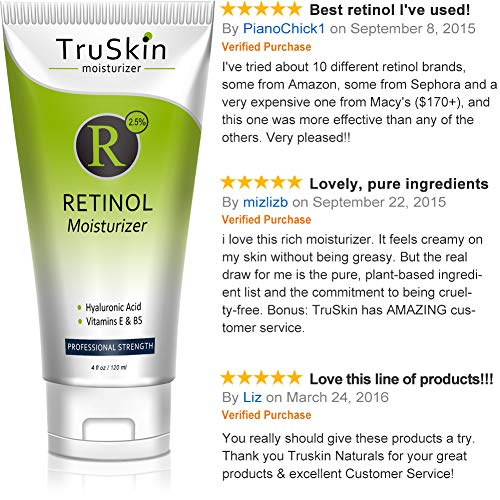 TruSkin Retinol Cream Anti-Wrinkle Moisturizer for Face Care and Eye Area with Hyaluronic Acid, Green Tea, 4 fl oz