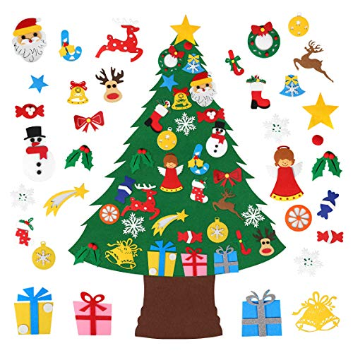 Zomma DIY Felt Christmas Tree with 33pcs Ornaments, Xmas Gifts for Kids New Year Handmade Christmas Door Wall Hanging Decorations Kids Gifts Party Supplies