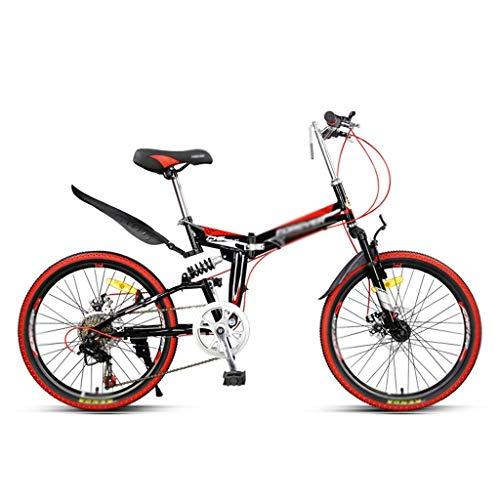 Zxb-shop Bicicleta Plegable Unisex Montaña roja de la Bicicleta Plegable Hombres y de Mujeres de Velocidad Variable Ultra Ligero portátil de Bicicletas 7 Velocidad