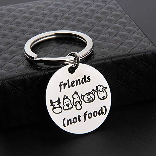 MAOFAED Vegan Gift Vegetarian Gift Animal Lover Gift Animal Rescue Gift Friends Not Food Vegan Keychain