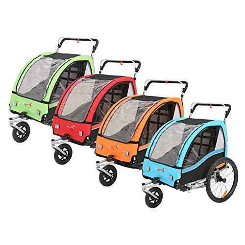Fahrradanhänger Kinder Fahrrad anhänger 2 in 1 Jogger Babywagen (Grün)
