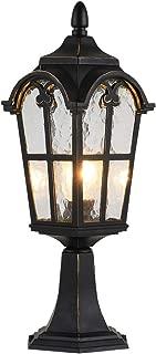 LONEDRUID Traditional Outdoor Post Lights Black Modern Pillar Lamp Waterproof Column Light Fixtures with Pier Mount, UL Listed
