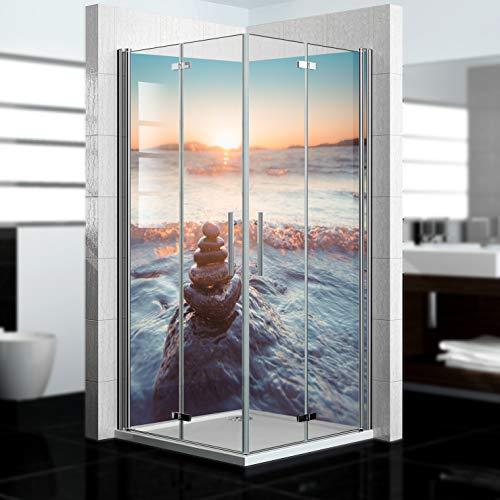 dedeco Eck-Duschrückwand wasserfest mit Calm Motiv - 2 x 90x200cm, als Badrückwand zum Fliesenersatz, für viele Bäder als Dekorwand, Wandverkleidung und Duschplatte aus Aluminium - Made in Germany