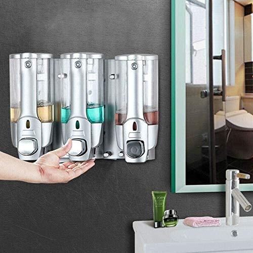WHSS Dispensador de jabón 3x350ML montado en la pared dispensador de jabón baño ducha champú jabón líquido desinfectante para baño baño baño cocina AAA