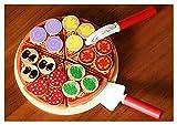Letaowl Juguete de Cocina 27 unids Pizza de Madera Comida Juguetes niños fingir cocinar simulación Jugar Juguete Cocina fingir Juguete de Madera Pizza