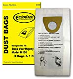 EnviroCare Replacement Vacuum Cleaner bags designed to fit Shop Vac Mighty Mini performance plus vacuums 3 bags and 1 filter