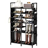 ZERO JET LAG 60'H Shoe Rack Boots Storage Organizer 7 Tiers Closet Entryway Shelf Stackable Cabinet Tower Double Row Non-Woven Fabric Metal 30-35 Pairs Black