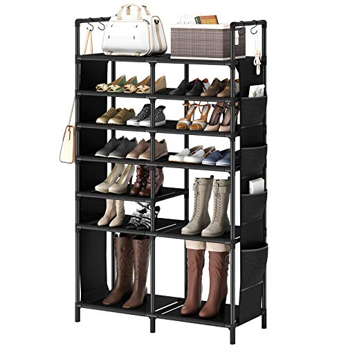 ZERO JET LAG 60H Shoe Rack Boots Storage Organizer 7 Tiers Closet Entryway Shelf Stackable Cabinet Tower Double Row Non-Woven Fabric Metal 30-35 Pairs Black