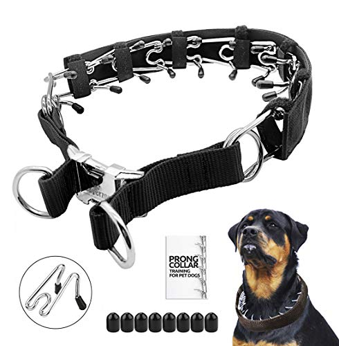 Prong Dog Training Collar with Protector, 4.0 mm x 23.6', Steel Chrome Plated Dog Prong Collar, Pinch Collar for Dogs (Protector Included)
