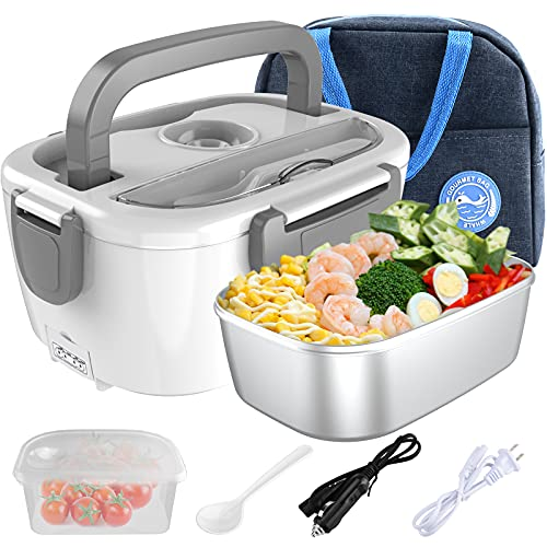 Electric Lunch Box Food Heater, HugeHard 2-In-1 Portable Food Warmer Lunch Box for Car and Home, Removable 304 Stainless Steel Container, Spoon and Carry Bag