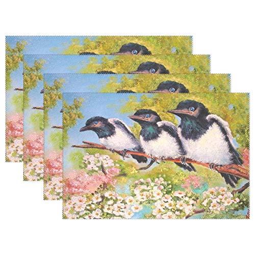 Promini Spring Funny Cardinal Birds Platzdeckchen Tischset, Sonnenblumen, Gänseblümchen, Tischsets, rutschfest, fleckenabweisend, für Esszimmer, Zuhause, Küche, Innenbereich, 4 Stück