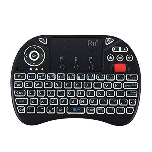 RII I8X 2.4G inalámbrico Blanco con retroiluminación Mini Teclado Touchpad Airmouse con Rueda de Desplazamiento