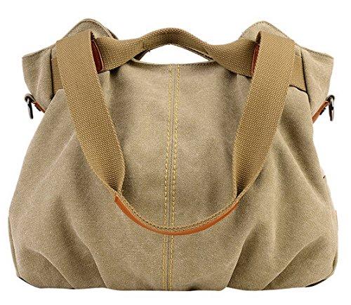 Aivtalk - Rétro Sac à Main/Bandoulière/Porte Epaule Besace en Toile Large Capacité Sacoche Bag Casual Bag pour Femme Fille Loisir Vintage Sport Activité d'Extérieur 30 * 35 * 17CM - Kaki