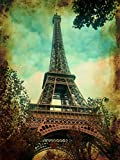 Diuangfoong Póster vintage de la Torre Eiffel francesa de París