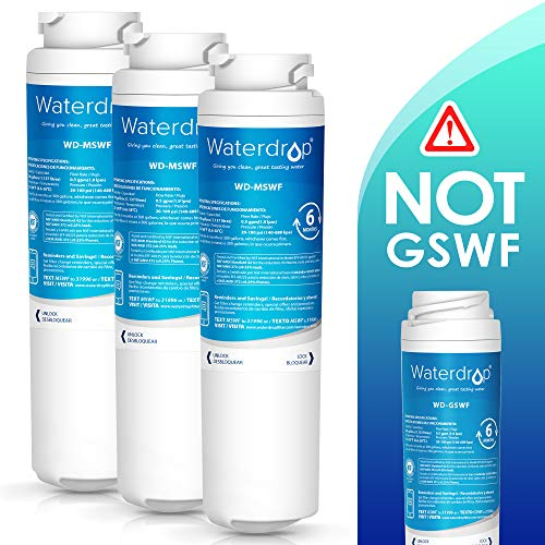 Waterdrop MSWF NSF 42&372 Certified Refrigerator Water Filter, Compatible with GE MSWF, 101820A, 101821B, 101821-B, Standard, Pack of 3
