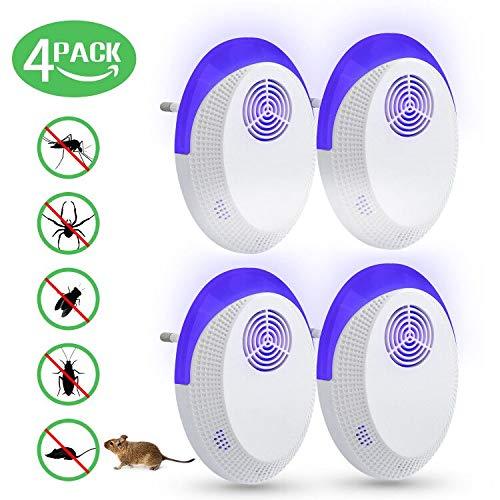 T98 Ultraschall Schädlingsbekämpfer, Mäusevertreiber Elektrisch Pest Repeller Innenräumen, Schädlingsbekämpfung für Mäuse, Kakerlaken, Fliegen, Mücken, Spinnen, Ratten (4 Stück)