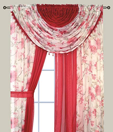 """LinenTopia All in One Floral Sheer Curtain Panels Set with 4 Attached Panels 84"""" Inch Length and 2 Attached Valances, See Through Voile Panels, 2 Tone Multicolor, 84"""" Burgundy Blossom"""
