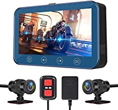 VSYSTO Motorcycle Dash Cam 4.5 inch Motorcycle Dual Camera 170° Angle Front and Rear Both 1080P WiFi Support, with GPS,Wireless Controller,Screen Voltage Show,Mountain Bike Camera Handlebar+64GB Card