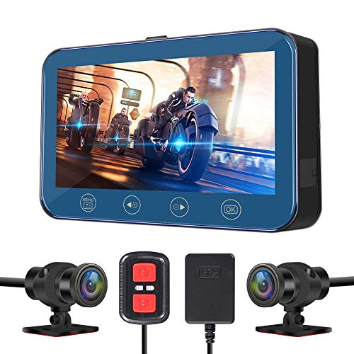 VSYSTO Motorcycle Recording Dash cam Dual Front & Rear 1080P Backup Camera with GPS WiFi 170° Wide Fish Eye Camera