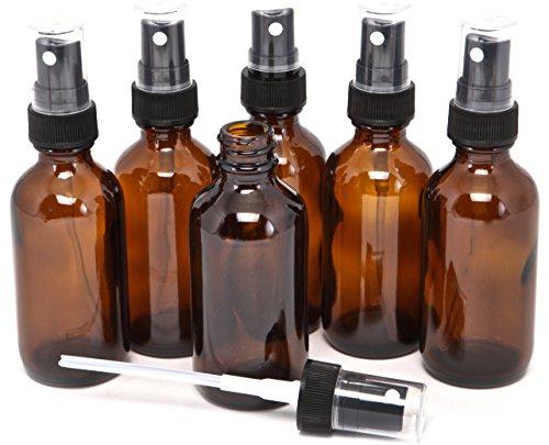 Vivaplex, 6, Amber, 2 oz Glass Bottles, with Black Fine Mist Sprayers
