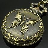 Antique Bronze Butterfly Quartz Pocket Watch Necklace Pendant Mens Gift P119