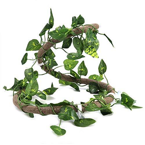 DAUERHAFT Ratán de Reptil de plástico para Anfibios para decoración de Cajas de Reptiles(Rattan + Green Leaf)