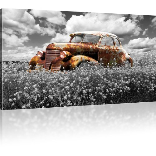 Kunstlab Rostiger Oldtimer Bild auf Leinwand Auto Leinwandbild Wiese Wandbild - 100x55 cm 1-Teilig: Schwarz-Weiss