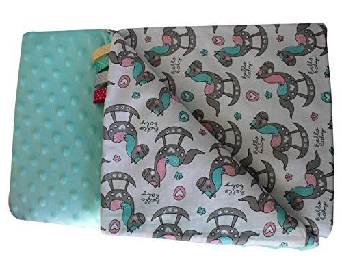 Caballo balancín turquesa, 75 x 100 cm, Minky manta para bebé, muy suave y esponjosa, hecha a mano