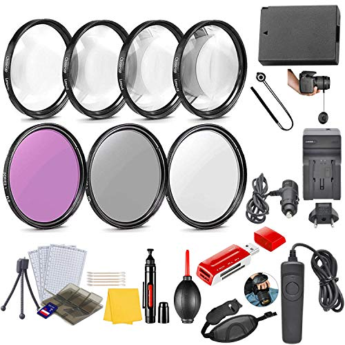 58mm Essential Camera Accessory Kit for Canon EOS Rebel SL3, SL2, 250D, 200D DSLRs with HD Filters, HD Macro Close Ups, Remote, Replacement LP-E17 Battery & More (20 Pcs)