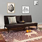 LOKATSE HOME Futon Sofa Bed Modern Faux Leather Couch Convertible Folding Recliner Living Room Furniture with 2 Cup Holders, Black