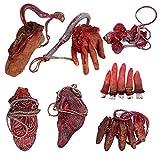 XONOR Falsas Manos Cortadas sangrientas de Halloween Pies Partes del Cuerpo rotas para la casa embrujada Decoración de Fiesta de Zombis de Halloween (B)