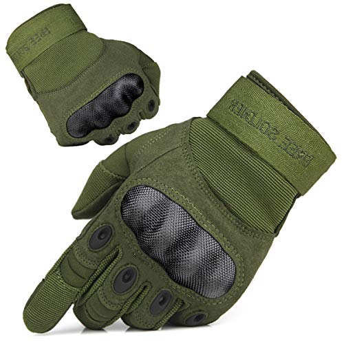 FREE SOLDIER Outdoor Handschuhe Herren Taktische Trainings Motorradhandschuhe Kletter Tactical Handschuhe Vollfinger Handschuhe Gilt für Radfahren Airsoft Militär Paintball(M,Armeegrün Color)