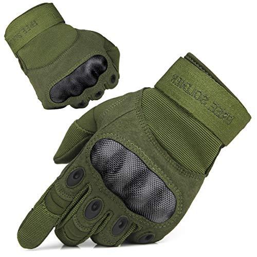 FREE SOLDIER Guantes Moto Verano Hombre Guantes Tacticos Militares Combate para Deportes al Aire Libre, Escalada, Ciclismo, Bicicleta Montaña, MTB, Airsoft, Paintball (S, Dedo Completo/Verde)