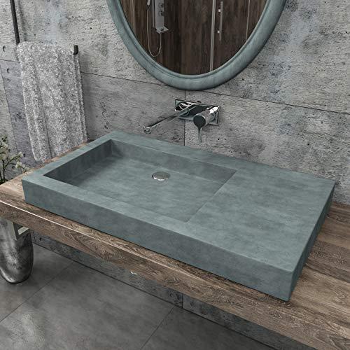 KERABAD Design Betonwaschbecken Waschtisch Aufsatzwaschbecken Waschschale aus Beton Grau eckig 82x46x8,5cm KB-B501