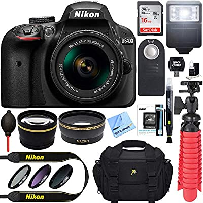 Nikon D3400 24.2 MP DSLR Camera + AF-P DX 18-55mm VR NIKKOR Lens Kit (Black) 32GB SDXC Memory + SLR Photo Bag + Wide Angle Lens + 2X Telephoto Lens + Flash Accessory Bundle (Renewed) by Nikon