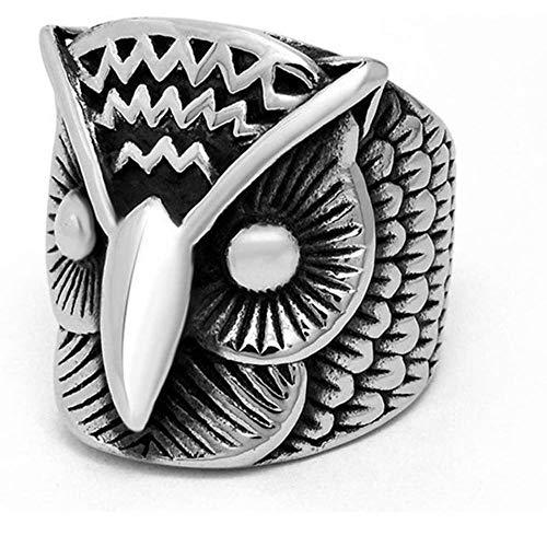 MMYY Anillo de plata 925, buho de acero de titanio anillo de acero para hombres Punk Rock Anillo de búho de acero inoxidable Cool Silver Color Retro Jewelry Gift-9