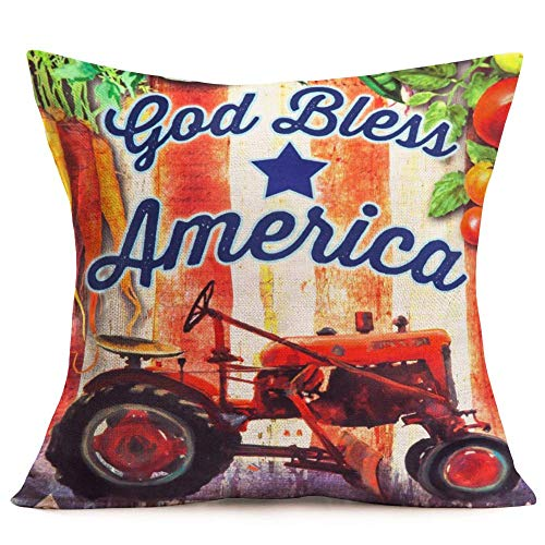 WXM Retro Farm Tractor Throw Pillow Covers God Bless America Inspirational Quote Cushion Cover Cotton Linen Square Carrot Tomato Pattern Pillow Cases Farmhouse Decorative 18x18 Inches
