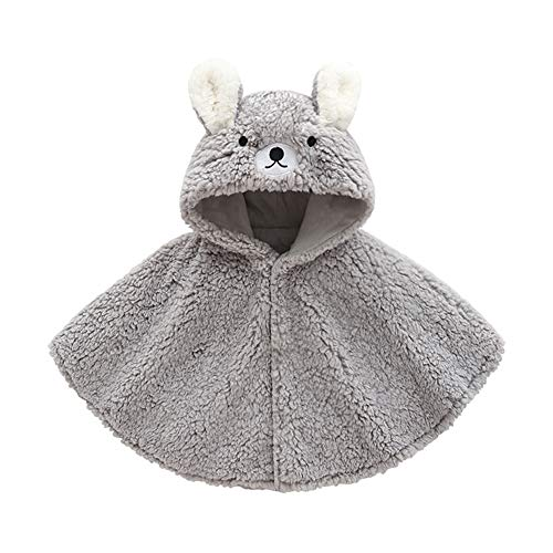 DOESLOOK Baby Boys Girls Cartoon Cloak Kids Thick Clothes Infant Outfits Toddler Cotton Hooded for Winter Warm Coat Grey